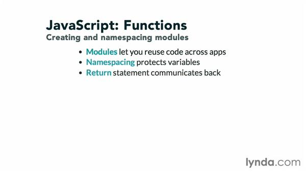 Creating and namespacing modules: JavaScript: Functions