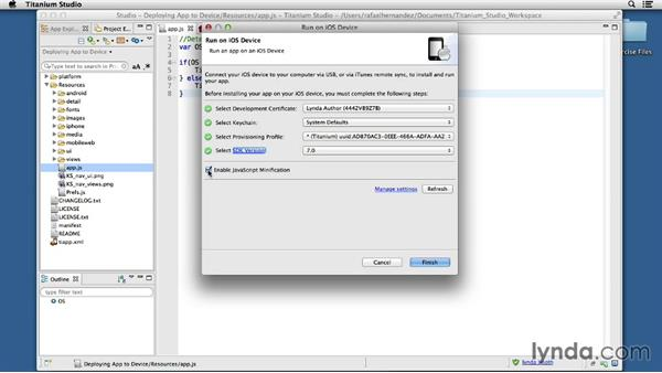 Deploying the app to a device: Up and Running with Titanium