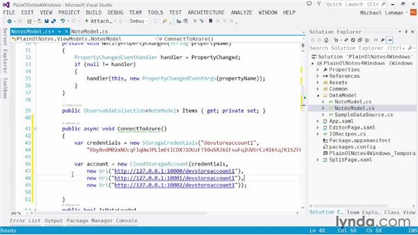 Cloud Notes app: Connecting to Windows Azure: Using Windows Azure with Windows Store Apps