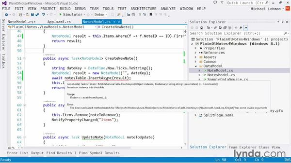 Implementing Mobile Services tables: Using Windows Azure with Windows Store Apps