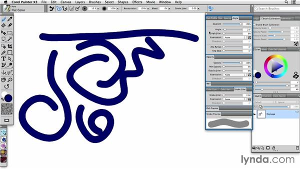 Setting Universal Jitter and working with Jitter brushes: Painter X3 Essential Training