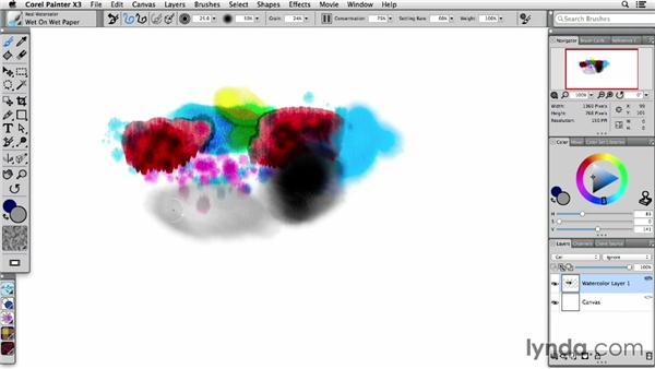 Using the Real Watercolor brushes: Painter X3 Essential Training