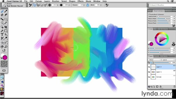 Picking up underlying color in layers: Painter X3 Essential Training