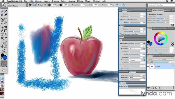Resetting brush properties: Painter X3 Essential Training