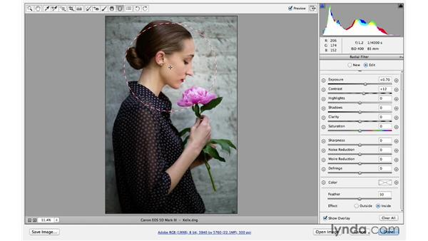 Using the Radial filter to improve light in certain areas: Photoshop for Photographers: Lighting Effects