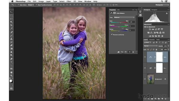 Using multiple adjustment to improve light and color: Photoshop for Photographers: Lighting Effects