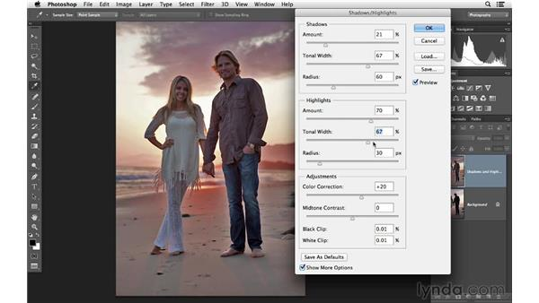 Using the Shadows and Highlights controls: Photoshop for Photographers: Lighting Effects
