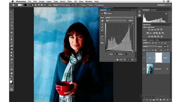 Correcting exposure with a gradient mask: Photoshop for Photographers: Lighting Effects