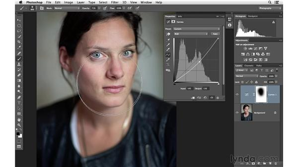 Improving a portrait with curves and masks: Photoshop for Photographers: Lighting Effects
