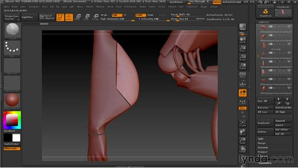 Cutting ailerons with Trim and Clip: Modeling a Female Android in ZBrush