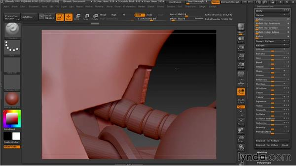 Adding thickness to panels with Extract: Modeling a Female Android in ZBrush