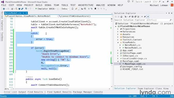 Solution: Bulletproofing your Azure tables code: Using Windows Azure with Windows Phone 8