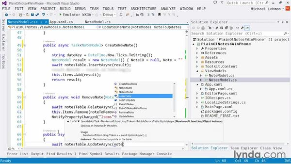 Implementing Mobile Services tables: Using Windows Azure with Windows Phone 8