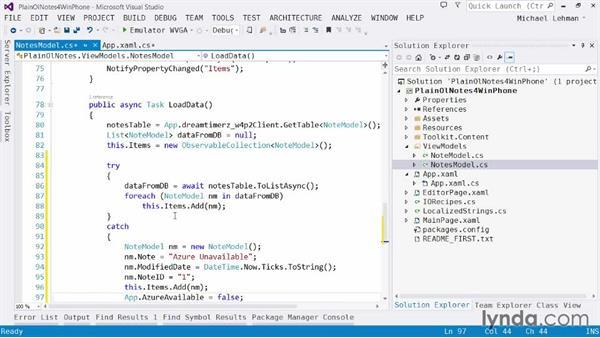 Solution: Verifying Azure connectivity: Using Windows Azure with Windows Phone 8