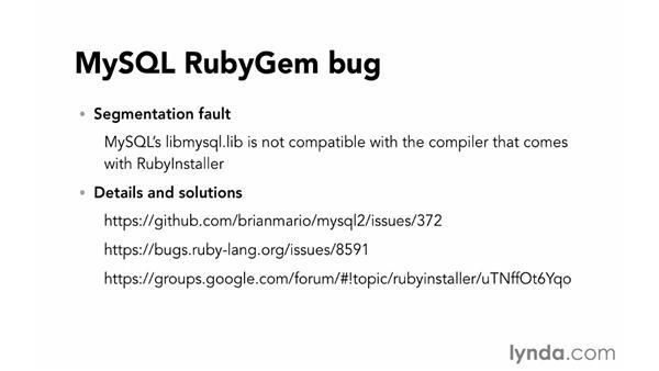 Problems with MySQL RubyGem: Ruby on Rails 4 Essential Training