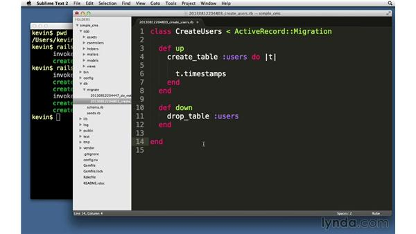 Generating migrations: Ruby on Rails 4 Essential Training