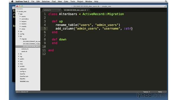 Migration methods: Ruby on Rails 4 Essential Training