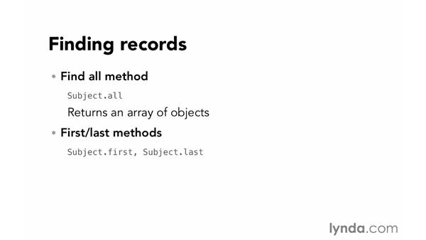 Finding records: Ruby on Rails 4 Essential Training