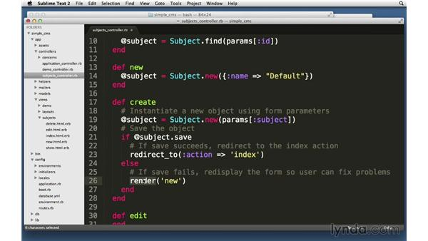 Create action: Create: Ruby on Rails 4 Essential Training