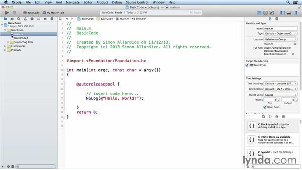 Objective-C structure: iOS App Development Essential Training