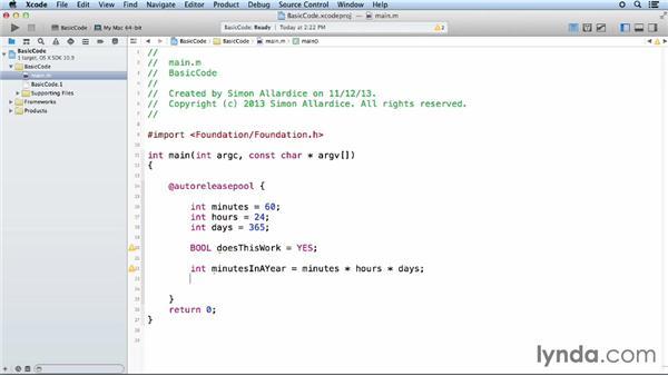 Creating primitive variables: iOS App Development Essential Training