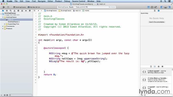 Using existing classes: iOS App Development Essential Training