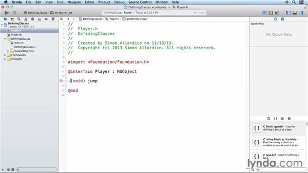 Creating custom classes: iOS App Development Essential Training