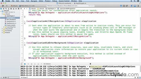 Using the multitasking events: iOS App Development Essential Training