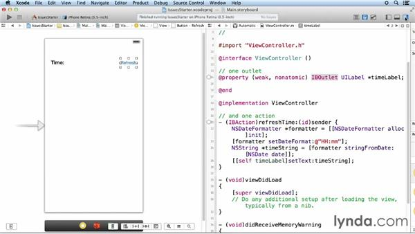 Troubleshooting UI-to-code connections: iOS App Development Essential Training