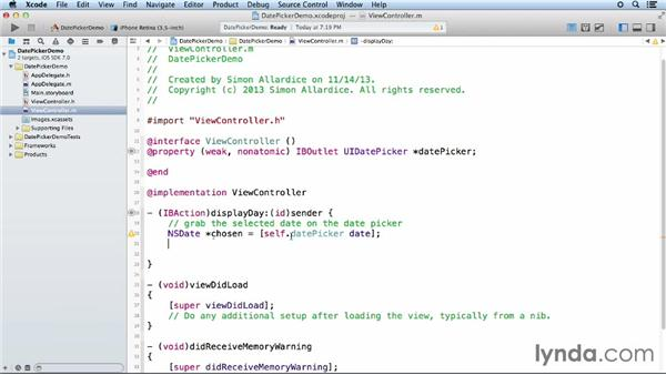 Using a date picker control: iOS App Development Essential Training