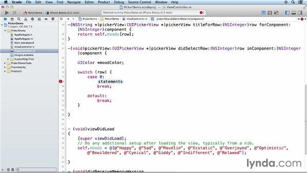 Responding to selection: iOS App Development Essential Training