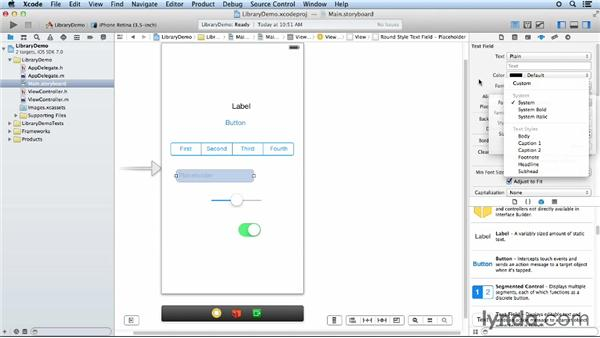 Exploring the object library: iOS App Development Essential Training