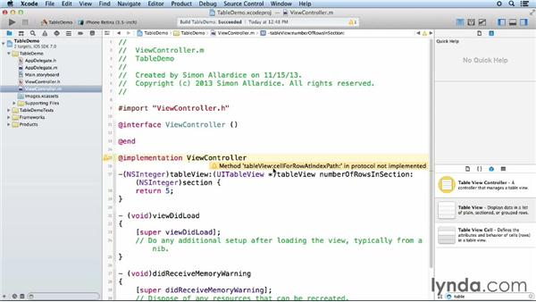 Creating a basic table view and data source: iOS App Development Essential Training