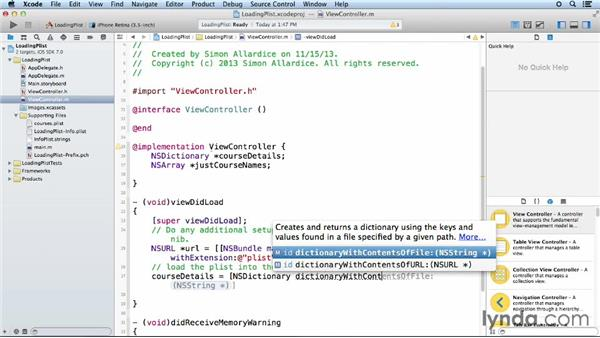 Loading a property list into a table view: iOS App Development Essential Training