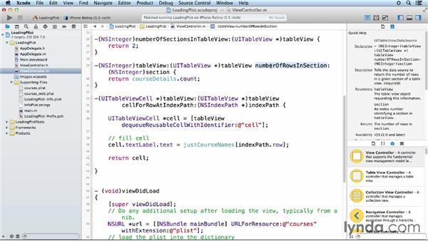 Customizing table views: iOS App Development Essential Training