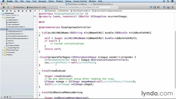 Step five: Passing objects between scenes: iOS App Development Essential Training