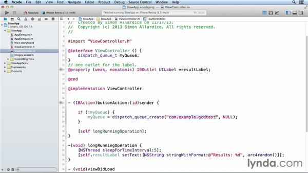 Adding concurrency to an existing app with GCD: iOS App Development Essential Training