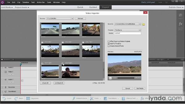 Download from a hard drive or storage-based camcorder: Up and Running with Premiere Elements 12