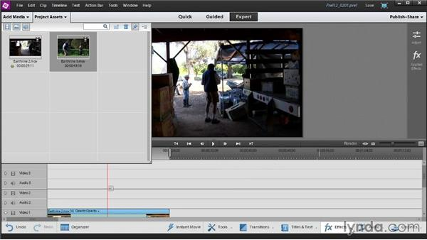 Editing on the Quick view vs. editing in Expert view: Up and Running with Premiere Elements 12