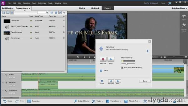 Recording narration: Up and Running with Premiere Elements 12