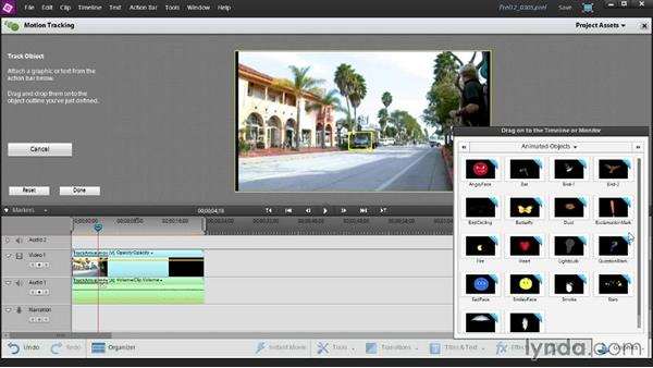 Using the Motion Tracking tool to link a graphic to an object in your video: Up and Running with Premiere Elements 12