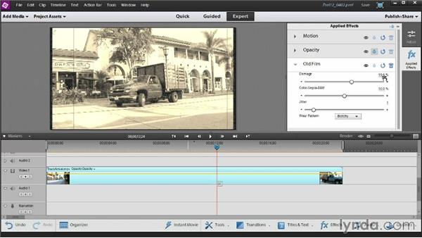 Adding and customizing a video effect: Up and Running with Premiere Elements 12