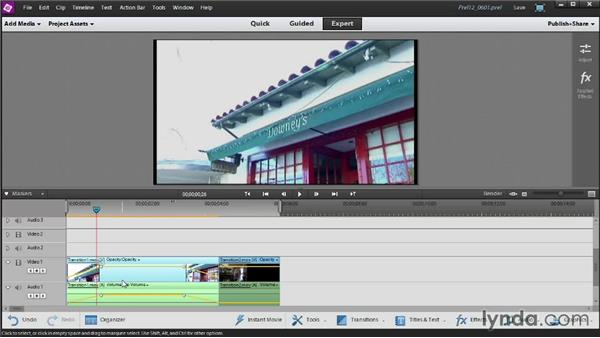 Creating fade-ins and fade-outs: Up and Running with Premiere Elements 12