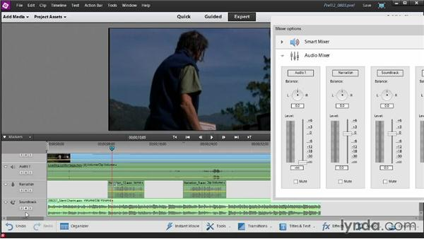 Mixing several tracks of audio using keyframes: Up and Running with Premiere Elements 12