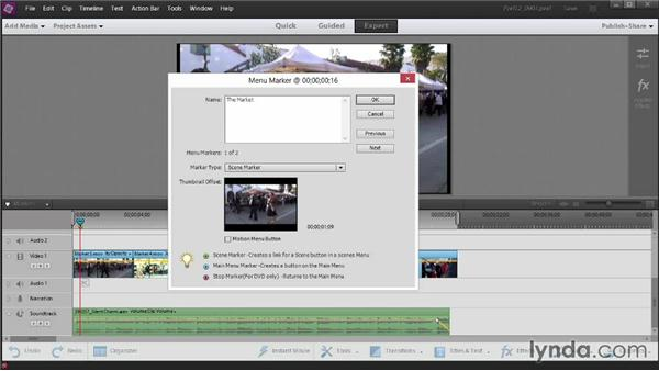 Adding menu markers: Up and Running with Premiere Elements 12
