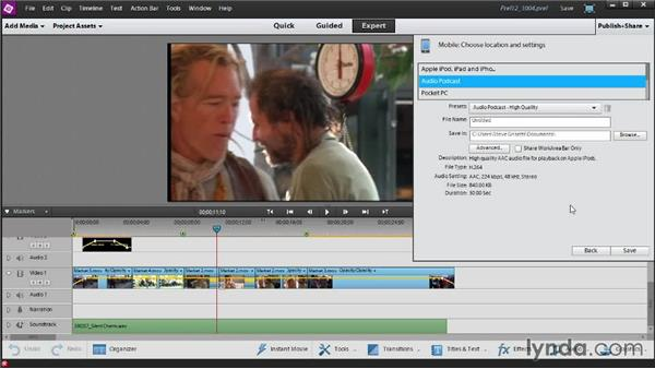 Outputting your movie for viewing on a portable device: Up and Running with Premiere Elements 12