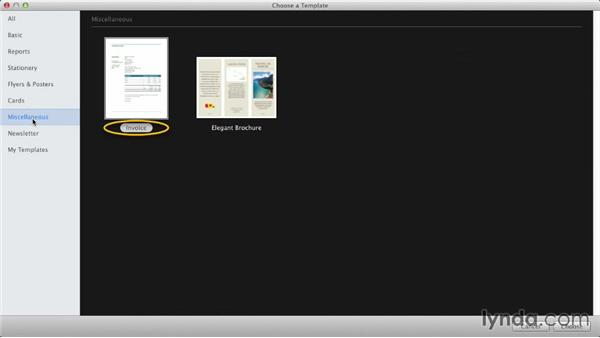 Working with the Template Chooser: iWork: Workflows and New Features