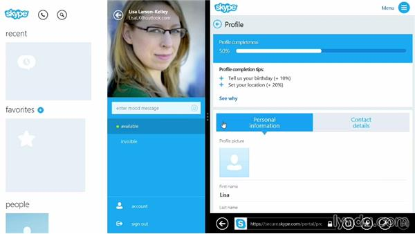 Configuring your profile and account settings: Up and Running with Skype for Windows