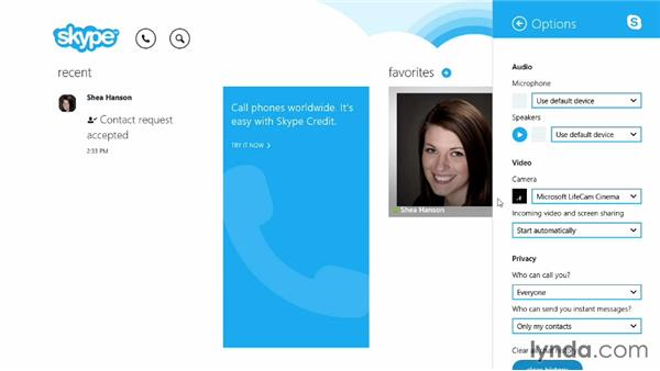 Setting up your webcam: Up and Running with Skype for Windows