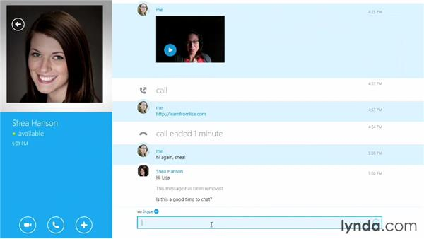 Sending text chat messages: Up and Running with Skype for Windows